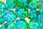 Chessex Gemini Green/Teal with Gold 7 Die Set