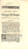 An Act To Restrain The Trade & Commerce Of Massachusetts Bay & New Hampshire . . . & To Prohibit... by King George III