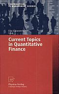 Current Topics in Quantitative Finance Cover