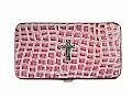 Pink Croc Embossed Wallet