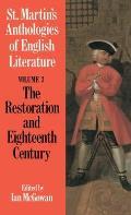 St Martins Anthologies of English Literature Volume 3 The Restoration & Eighteenth Century