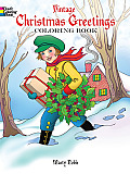 Vintage Christmas Greetings Coloring Book Cover