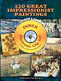 120 Great Impressionist Paintings CD-ROM and Book with CDROM (Dover Electronic Clip Art) Cover
