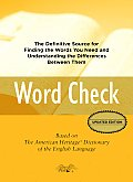 Word Check: A Concise Thesaurus Based on the American Heritage Dictionary of the English Language