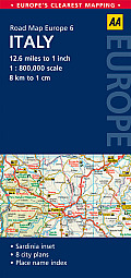 AA Road Map Europe Italy
