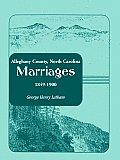 Alleghany County, North Carolina, Marriages, 1849-1900