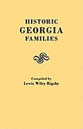 Historic Georgia Families