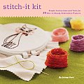Stitch It Kit 35 Chick to Classic Embroidery Projects With Instruction Book & Hoop Needle Floss Tea Towels & 35 Iron On Patterns