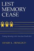 Lest Memory Cease: Finding Meaning in the American Jewish Past (Modern Jewish History) Cover