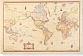 Antique Style World Wall Map Rolled