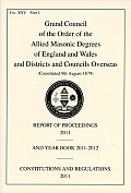 Allied Masonic Degrees Report of Proceedings and Yearbook 2012