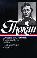 Thoreau: A Week, Walden, Maine Woods, Cape Cod (Library of America) Cover