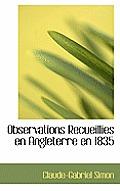 Observations Recueillies En Angleterre En 1835