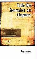 Table Des Sommaires Des Chapitres.