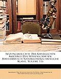 Sitzungsberichte Der Kaiserlichen Akademie Der Wissenschaften. Mathematisch-Naturwissenschaftliche Klasse, Volume 116