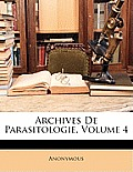 Archives de Parasitologie, Volume 4