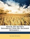 Kritik Der Reinen Erfahrung Von Dr. Richard Avenarius ...