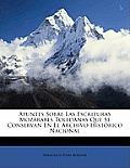 Apuntes Sobre Las Escrituras Mozrabes Toledanas Que Se Conservan En El Archivo Histrico Nacional
