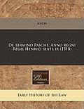 de Termino Pasche. Anno Regni Regis Henrici Sexti. IX (1518)