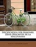 Specification for Masonry. Devis Descriptif de La Maconnerie