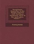Kurzgefasster Kommentar Zu Den Heiligen Schriften Alten Und Neuen Testamentes, Sowie Zu Den Apokryphen, Volume 1...