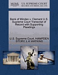 Bank of Minden V. Clement U.S. Supreme Court Transcript of Record with Supporting Pleadings