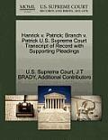 Hanrick V. Patrick; Branch V. Patrick U.S. Supreme Court Transcript of Record with Supporting Pleadings