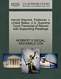 Harold Wapnick, Petitioner, V. United States. U.S. Supreme Court Transcript of Record with Supporting Pleadings
