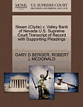Skeen (Clyde) V. Valley Bank of Nevada U.S. Supreme Court Transcript of Record with Supporting Pleadings