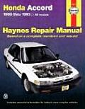 Honda Accord Repair Manual 1990 1993 All Models