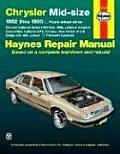 Chrysler Midsize Models Repair Manual 1982 1995 LeBaron New Yorker Dodge 400 600 Lancer Plymouth Caravelle