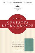 Rvr 1960 Biblia Compacta Letra Grande Con Referencias, Turquesa Simulacion Piel