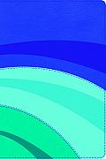RVR 1960 Biblia de Estudio Arco Iris, azul eléctrico/celeste/turquesa, símil piel