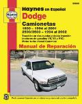 Dodge Camionetas: 1500 (1994 Al 2001) y 2500/3500 (1994 Al 2002) (Haynes Repair Manual)