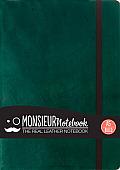 Monsieur Notebook Green Leather Ruled Medium