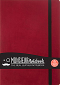 Monsieur Notebook Leather Journal - Red Ruled Medium