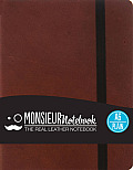 Monsieur Notebook Brown Leather Plain Small