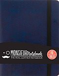 Monsieur Notebook Navy Leather Ruled Small