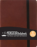 Monsieur Notebook Leather Journal - Brown Dot Grid Small