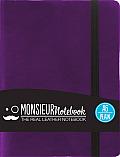Monsieur Notebook Leather Journal - Purple Plain Small