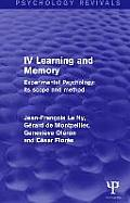 Experimental Psychology Its Scope and Method: Volume IV: Learning and Memory