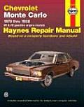 Chevrolet Monte Carlo Automotive Repair Manual (626): All Models 1970 thru 1988, V6 & V8