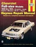 Chevrolet Full Size Models Repair Manual 1969 1990 V6 & V8 Including Impala Caprice Biscayne Bel Air Wagons