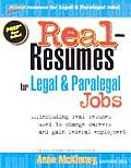 Real Resumes For Legal & Paralegal Jobs