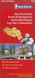 Michelin Maps #736: Michelin Slovenia, Croatia, Bosina & Herzegovina, Serbia, Montenegro, Yugoslavic Republic of Macedonia Cover