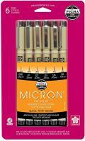 Pigma Micron Pen Black 005 to 08 Set of 6