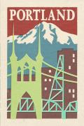 Portland Oregon WoodBlock Postcard