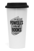 Powells White 16oz Tumbler with Black Silicone Lid Double Walled