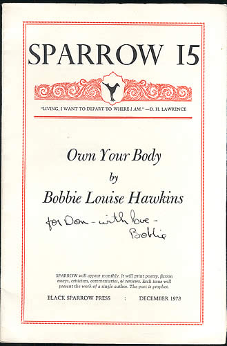 Sparrow 15: Own Your Body, 1st Edition Signed