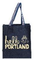 Hello Portland Books on Tree Stump Denim Striped Handle Large Tote Bag